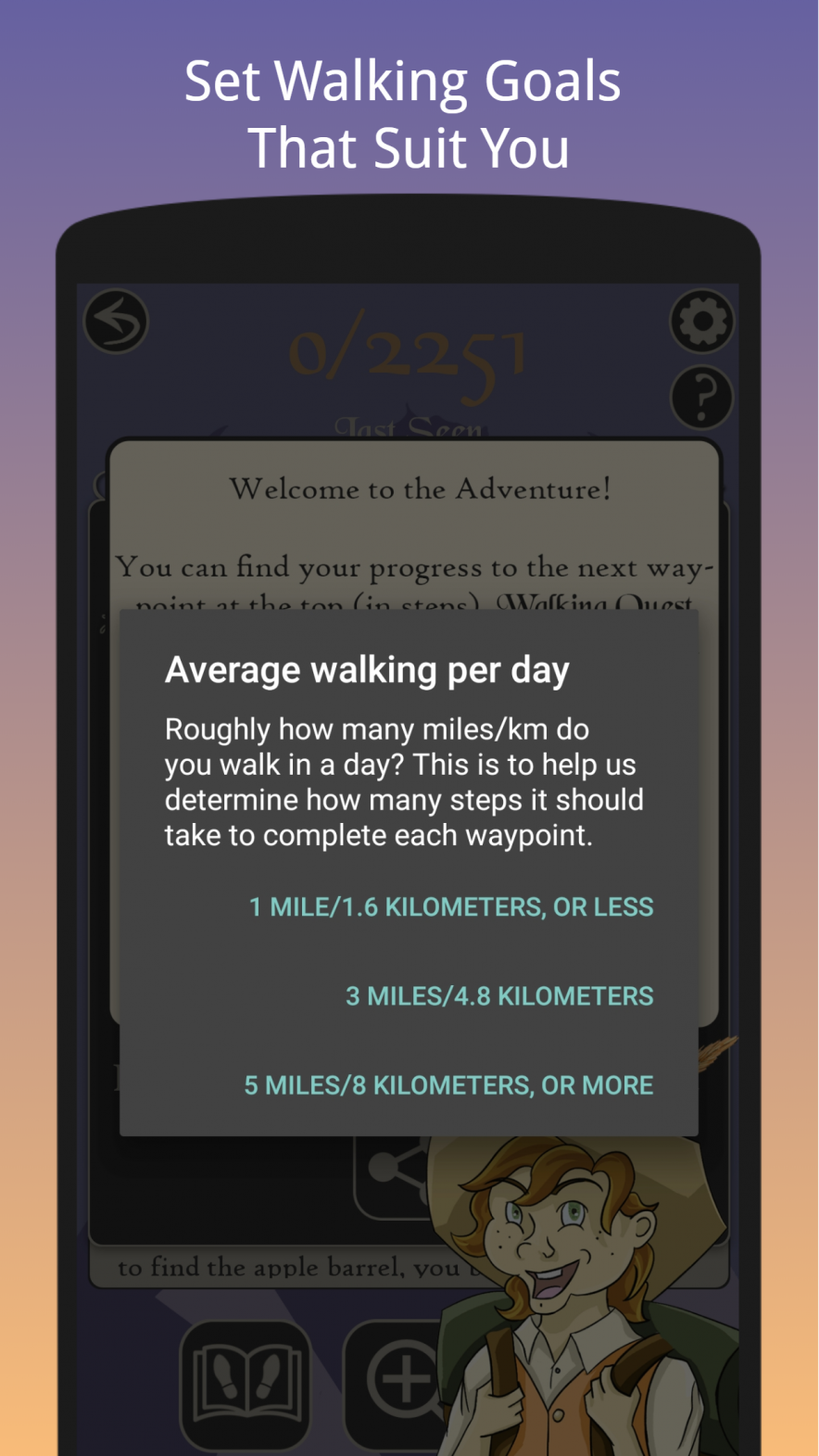 Walking Quest - Fun Step Counter Choose Your Quest Screenshot